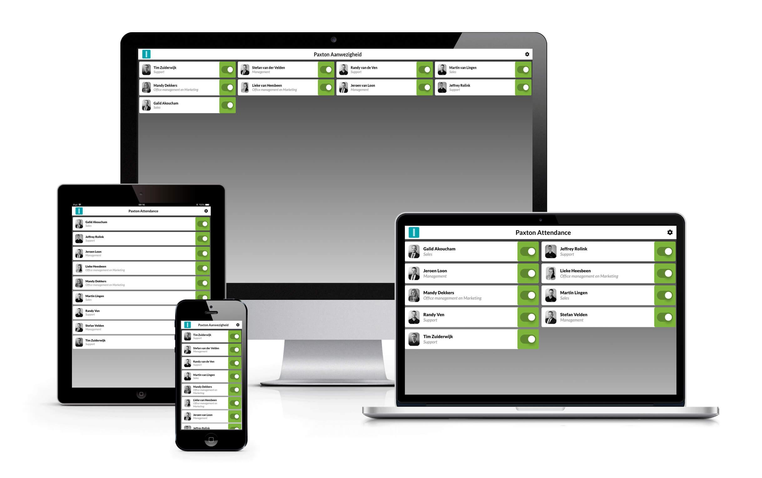 Bezoekersregistratie in scherm