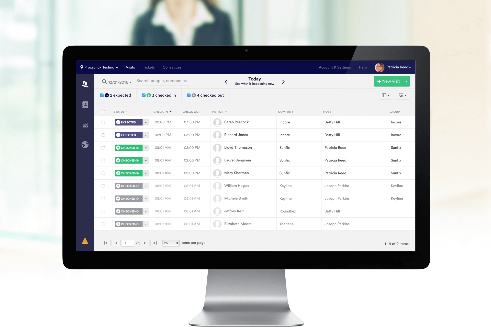 Bezoekersregistratie Proxyclick op scherm